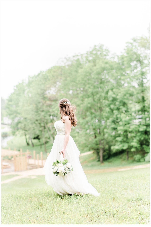 bridal portrait in a green meadow