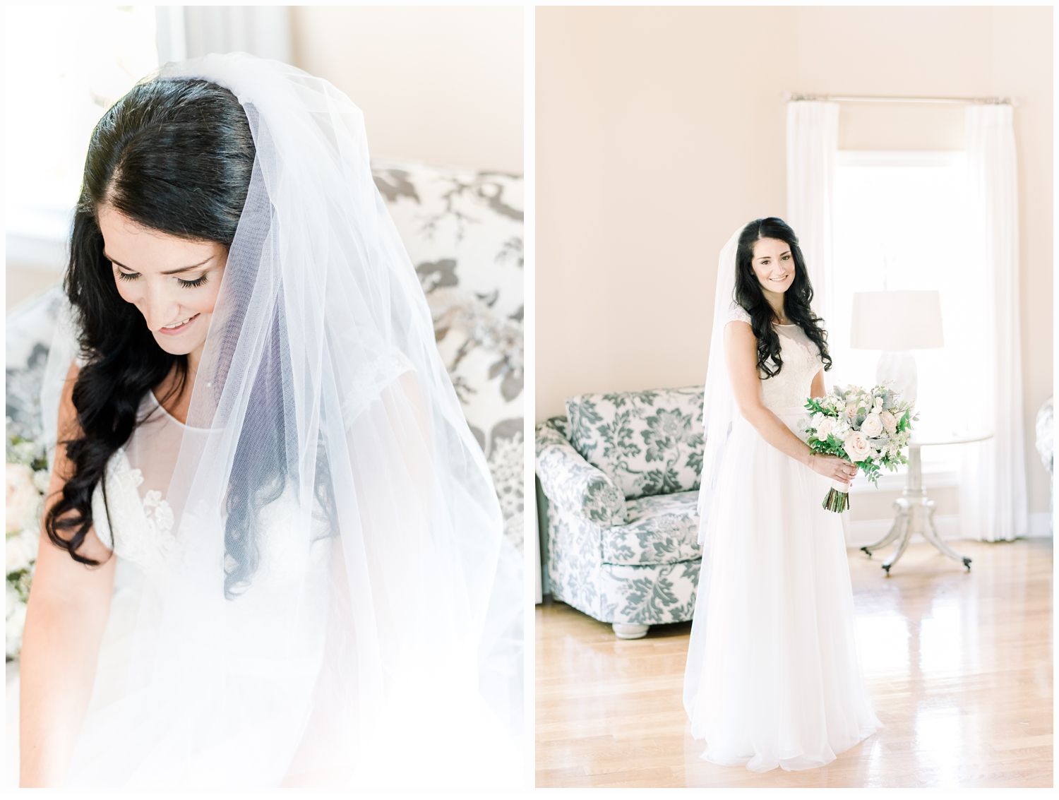 bridal portraits in bridal suite