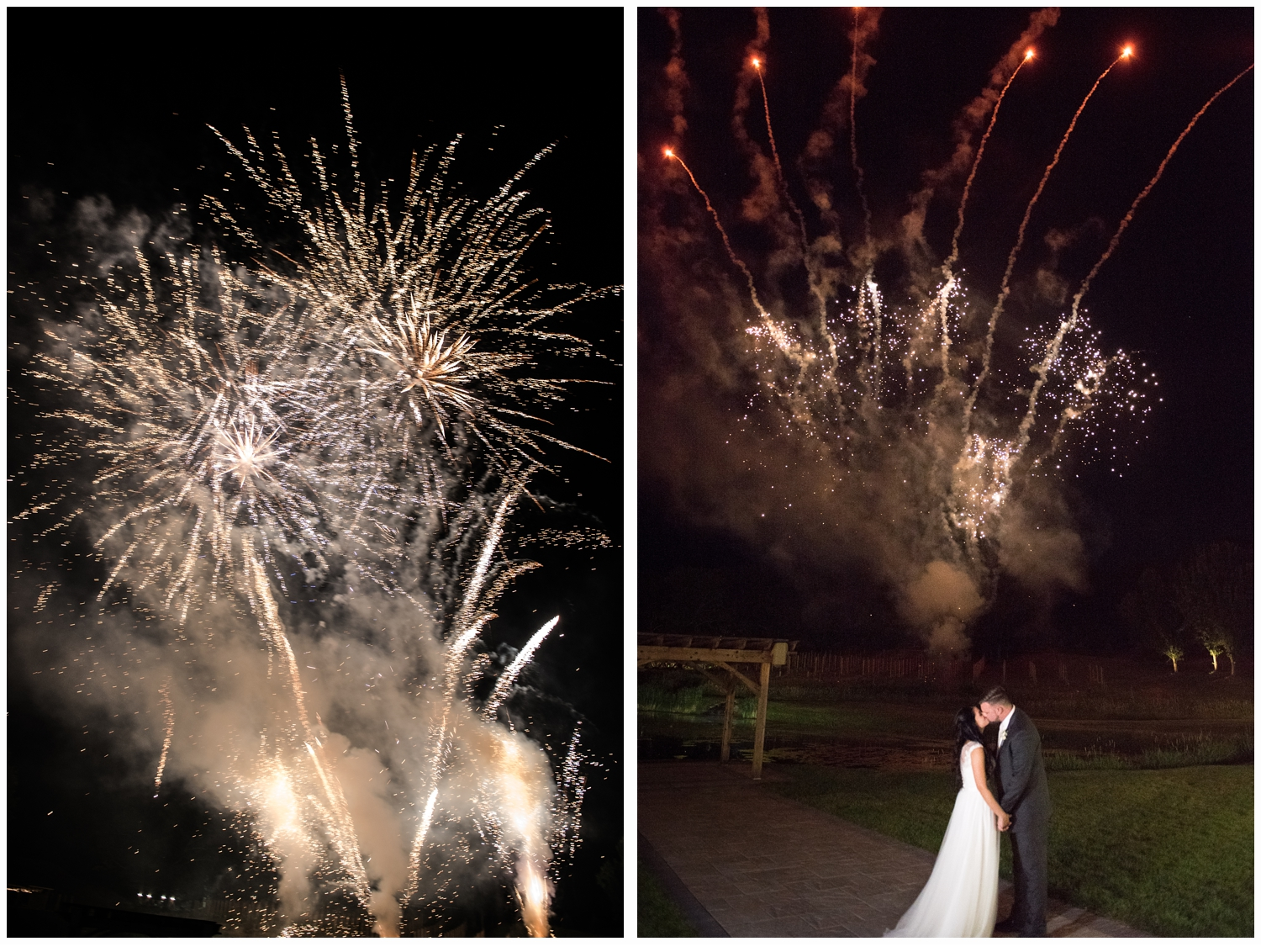 bride and groom watching firework display