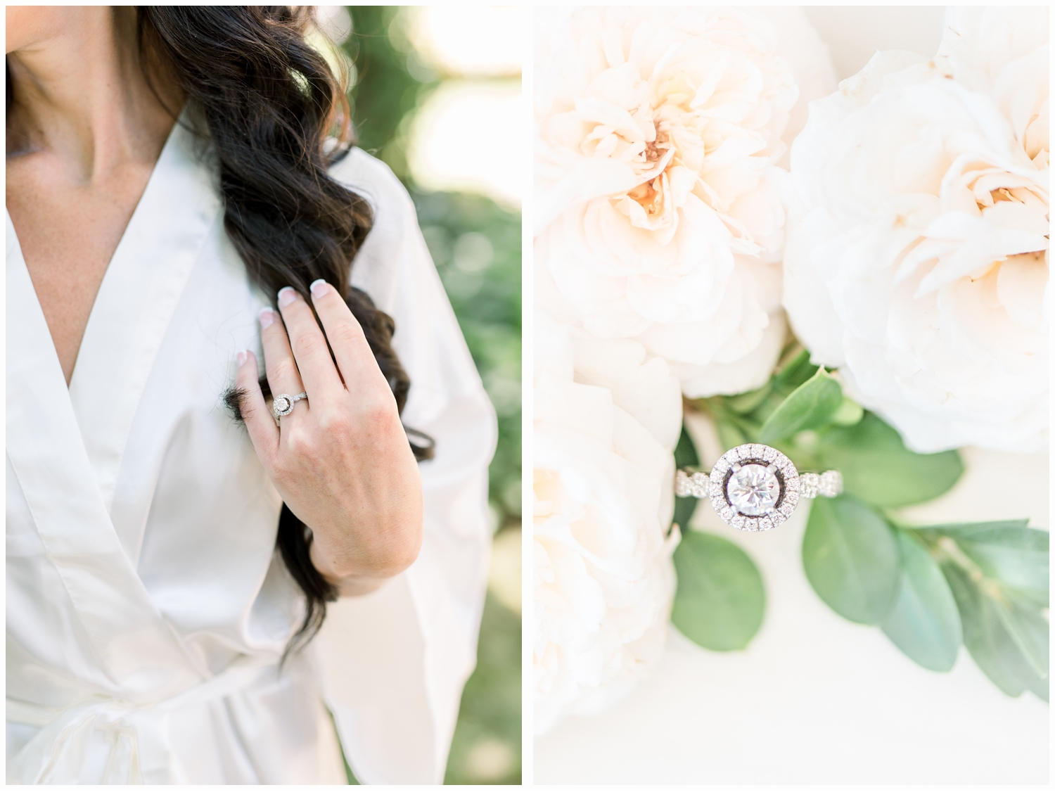 bride with engagement ring on finger