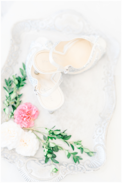 wedding shoes on pretty tray