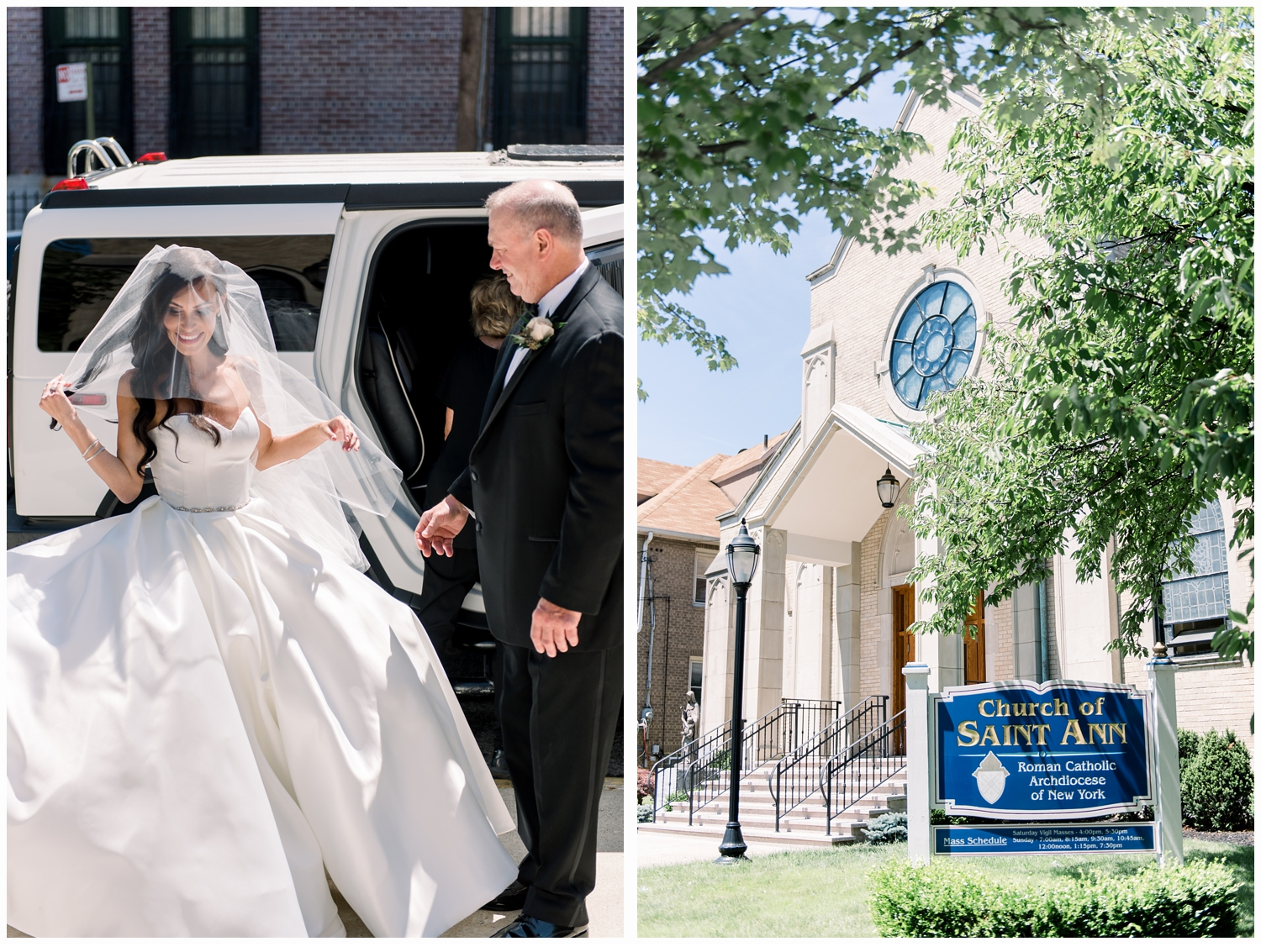 bride with dad arriving at church on wedding day