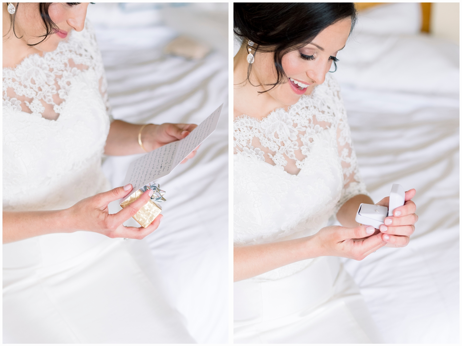 bride opening card and gift from groom on wedding day