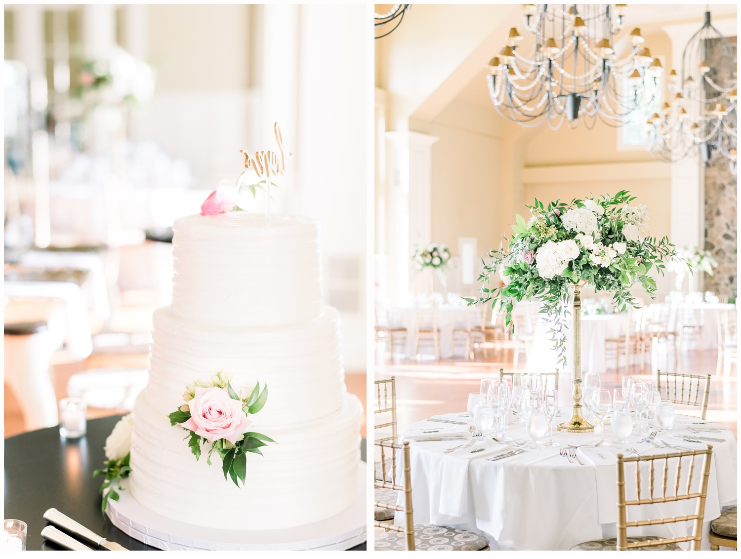 wedding cake and floral centerpiece