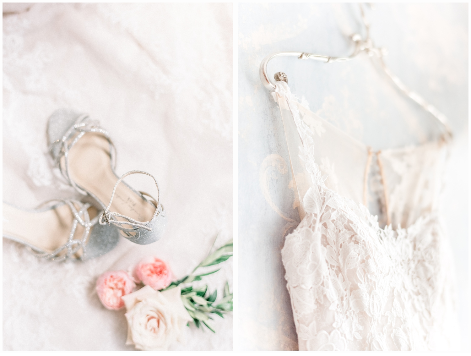 wedding gown with wedding shoes