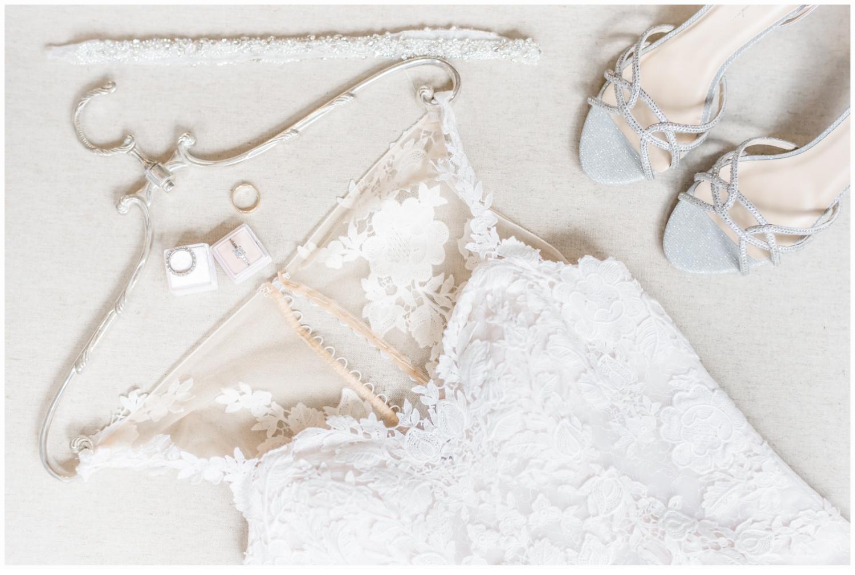 wedding gown on pretty silver hangar