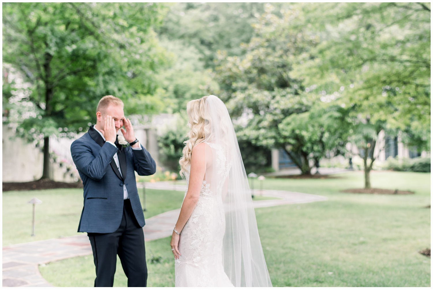 groom seeing bride for the first time on wedding day