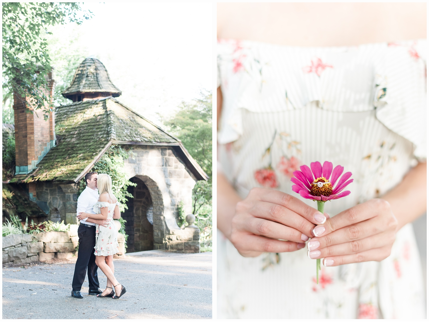 woman holding flower with engagement ring inside