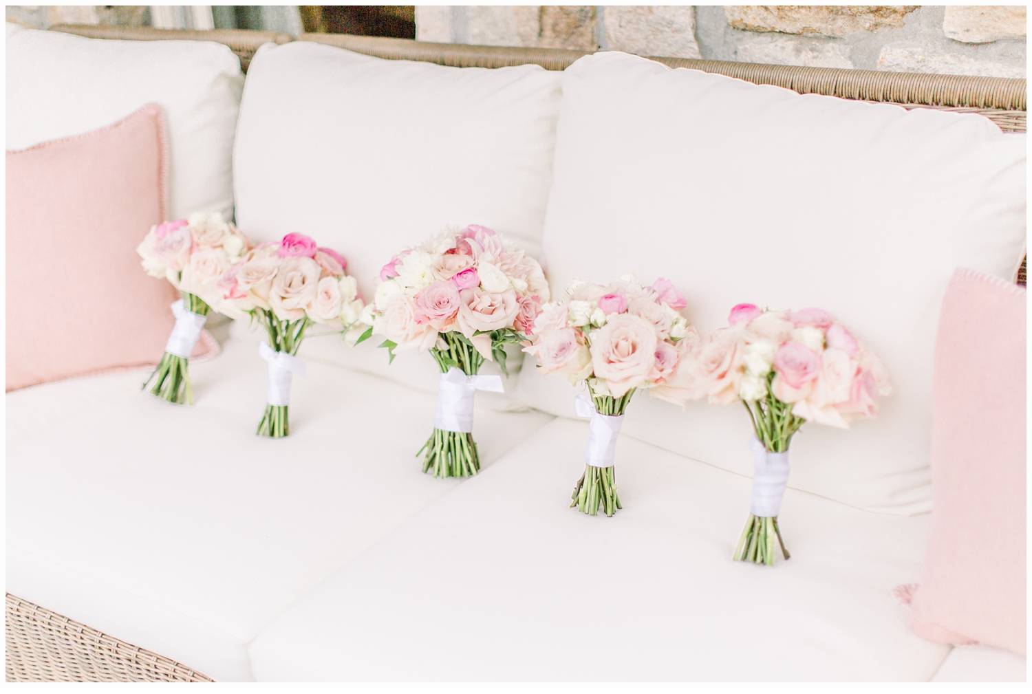 wedding bouquets on couch