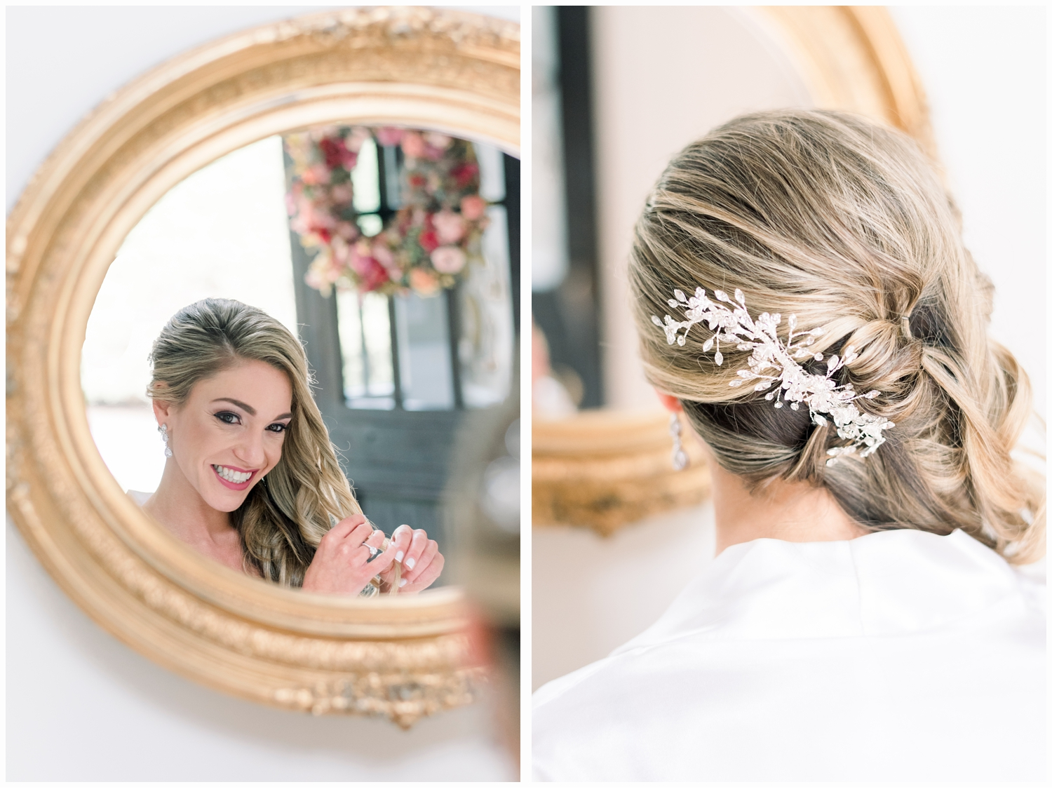 bride fixing hair in mirror