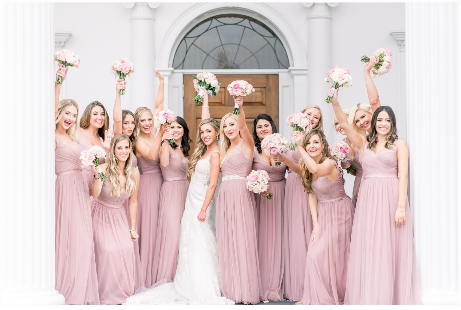bride and bridemaids cheering