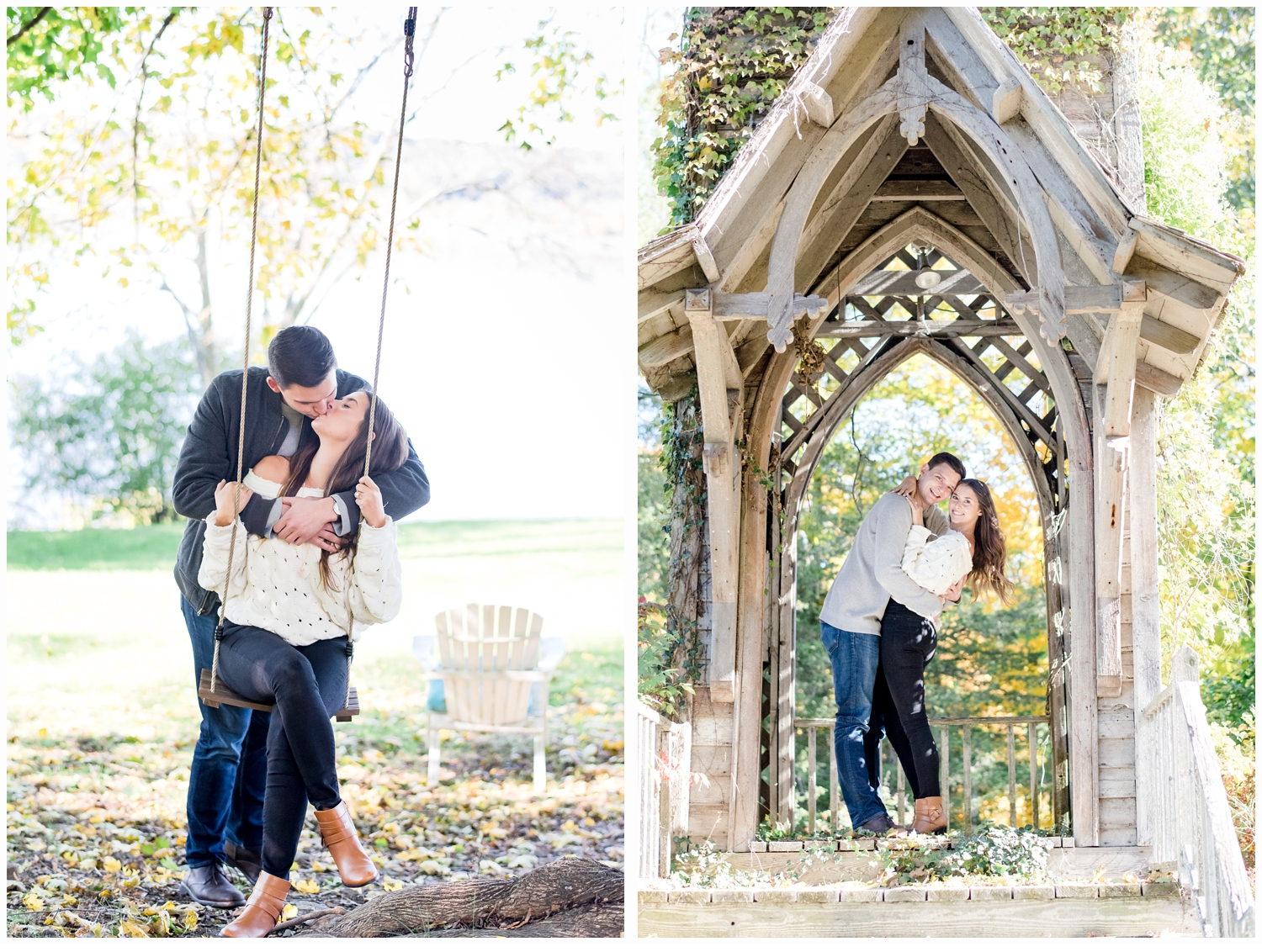 couple on swing engagement session