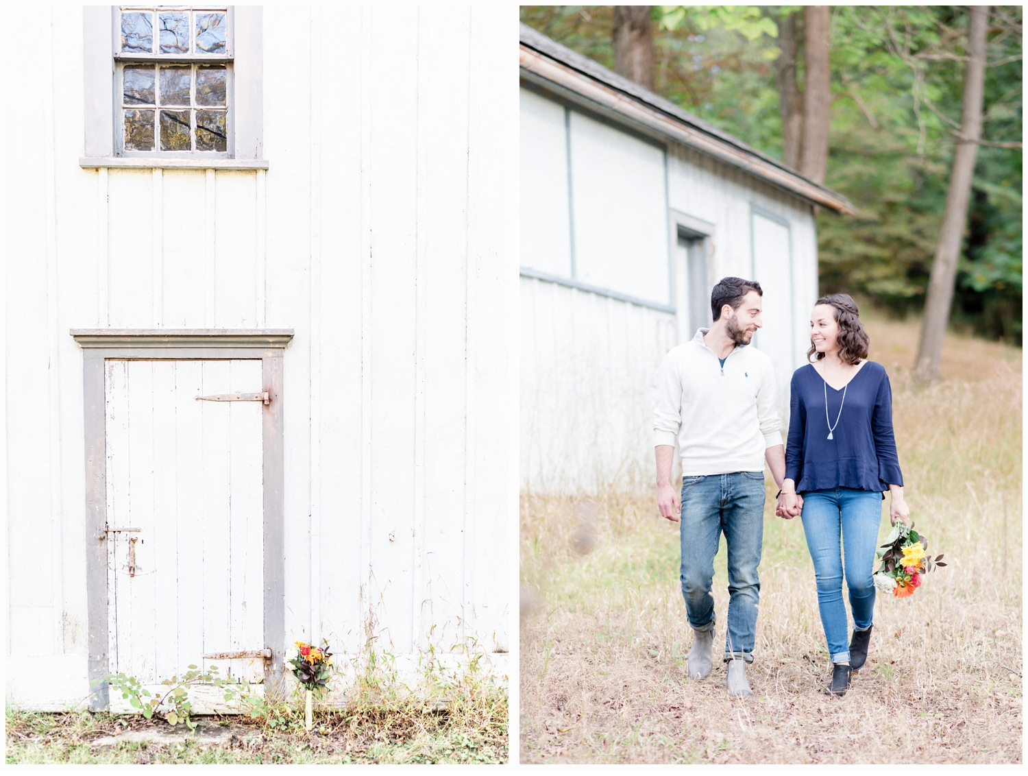 couple walking past a barn holding hands