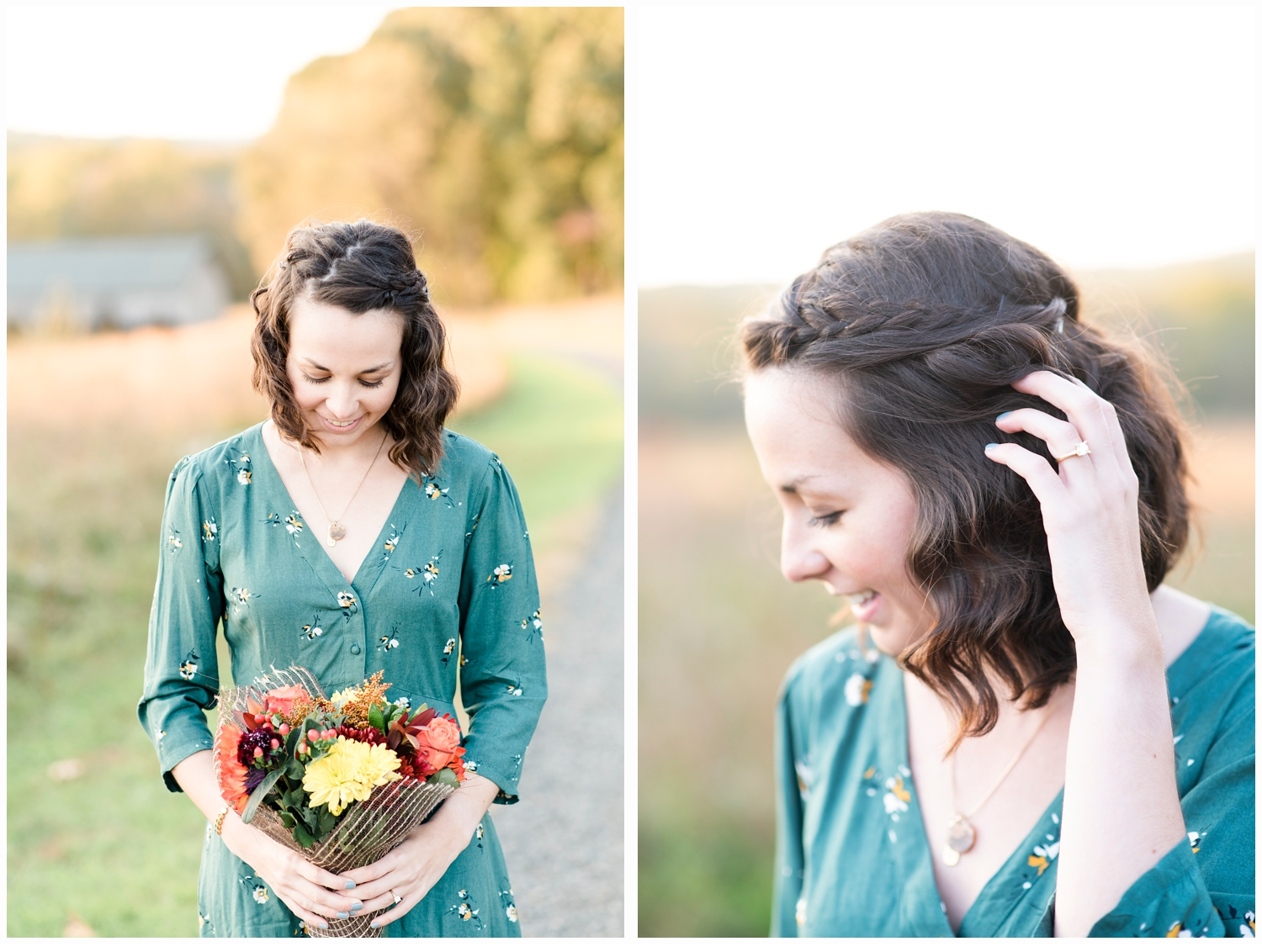 woman holding flowers on engagement session
