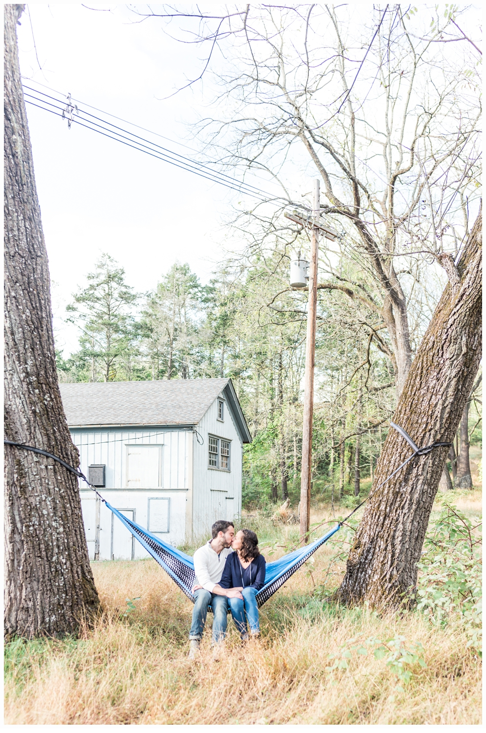 couple on a hammock for engagement session