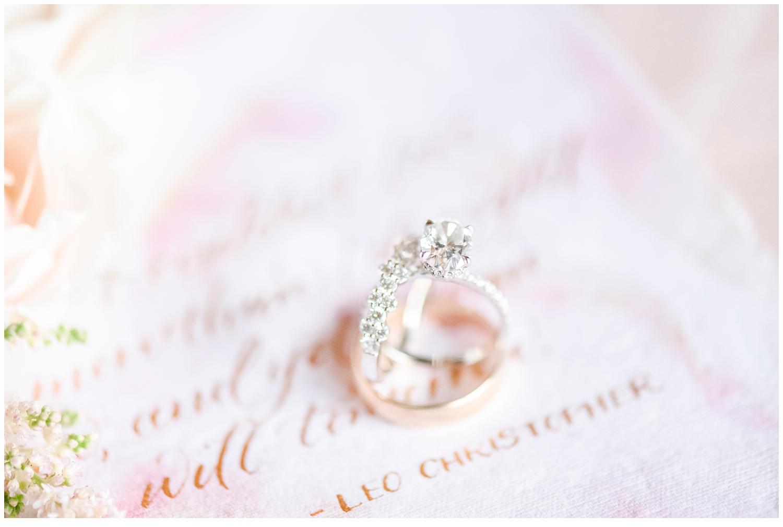 wedding rings on pretty invitation