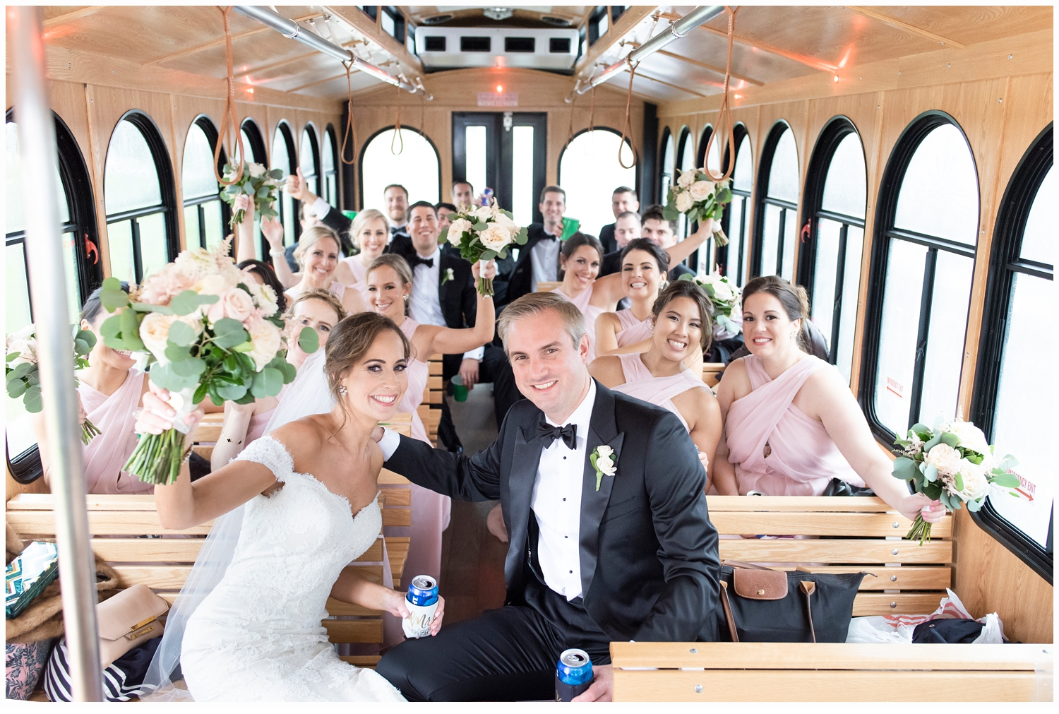 bridal party on trolley in spring lake nj