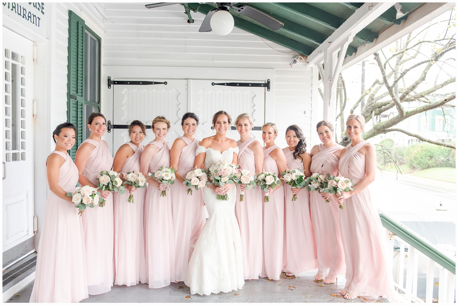 bridesmaids holding bouquets at the parker house spring lake nj