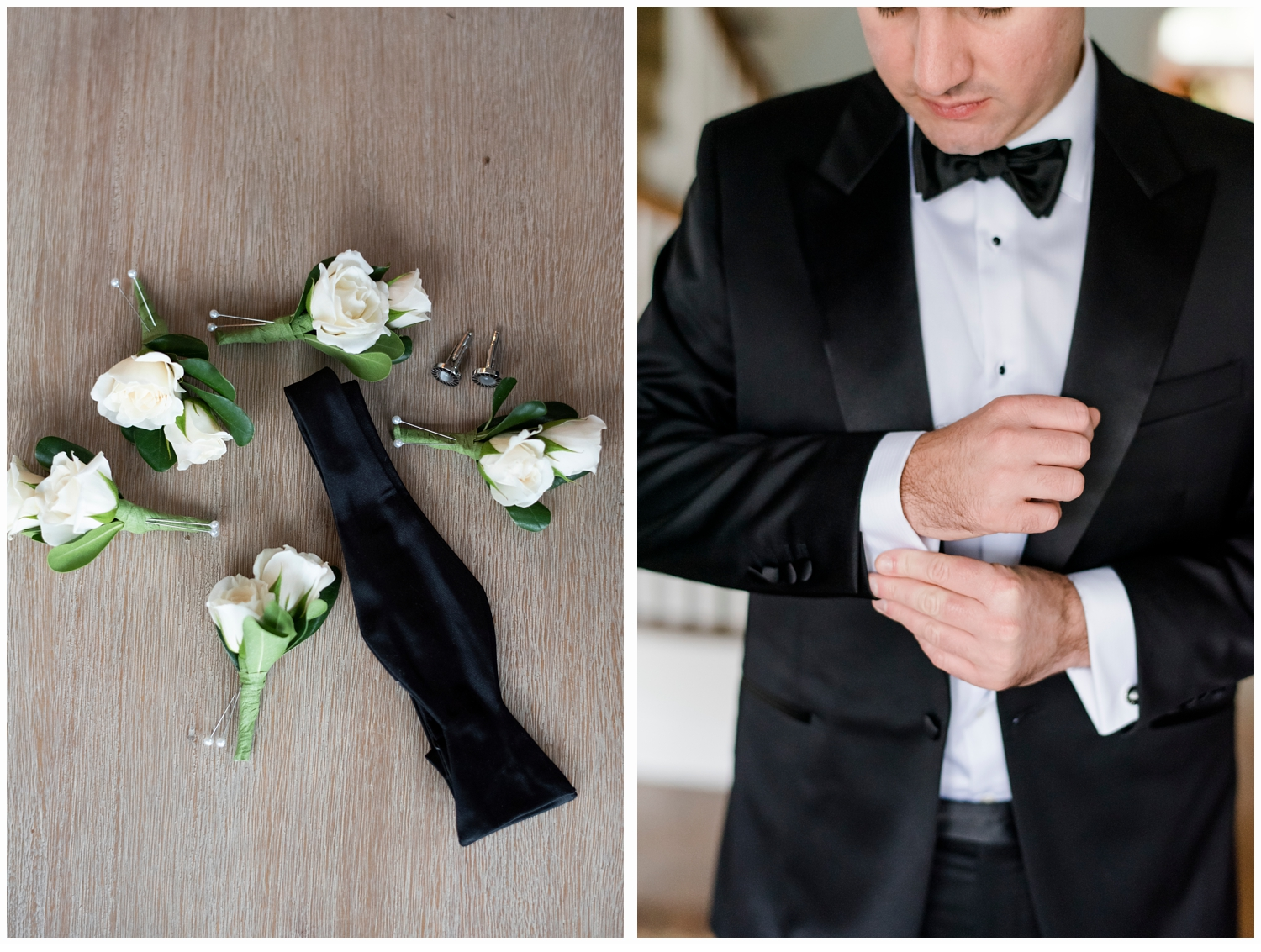 groom putting on his cuff links
