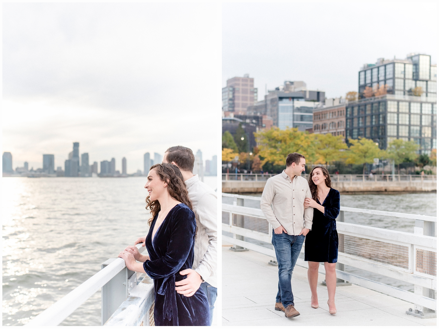 engaged couple looking at the hudson river in tribeca