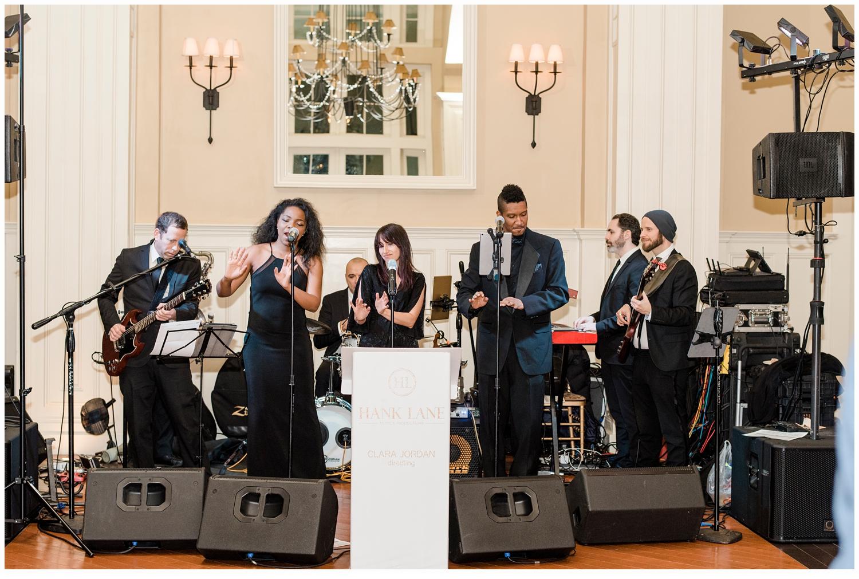 wedding band playing at wedding