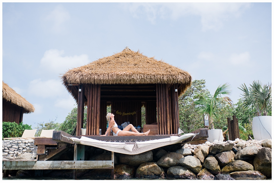 bride in a cabana on the oceanfront in aruba