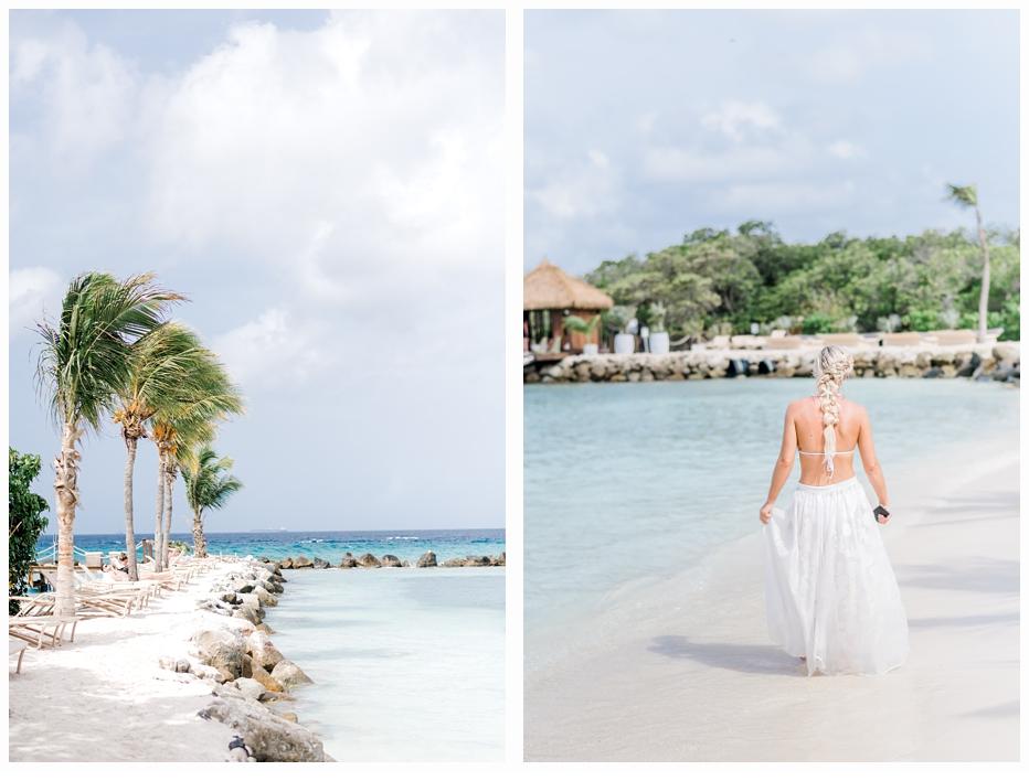 bride walking on beach in aruba