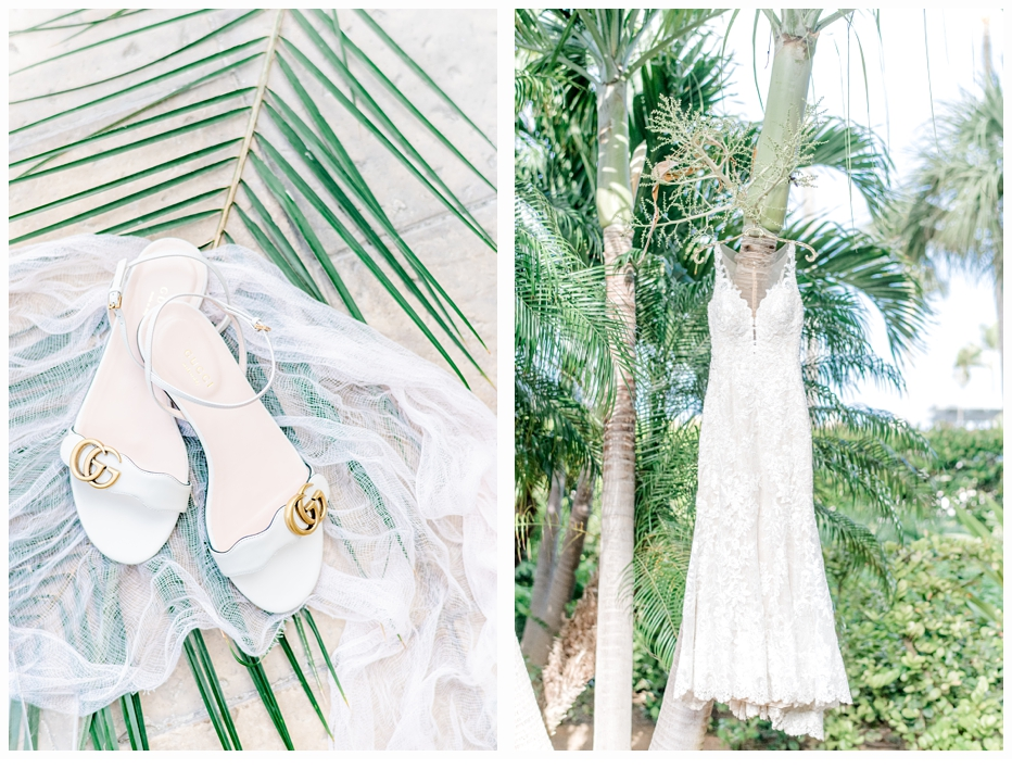 bridal gown in a palm tree and shoes
