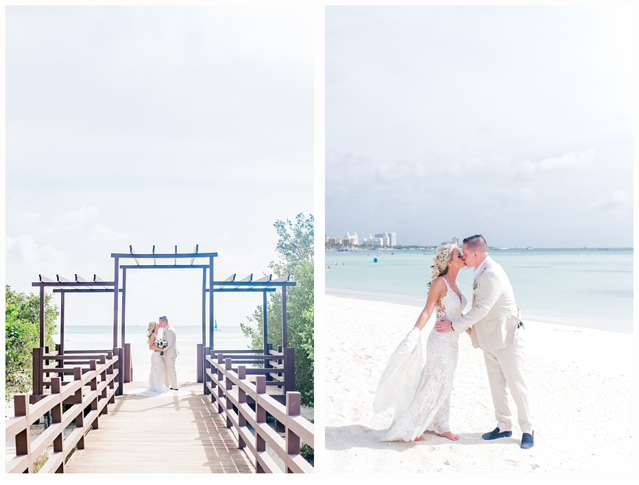 bride and groom on a pier at the beach