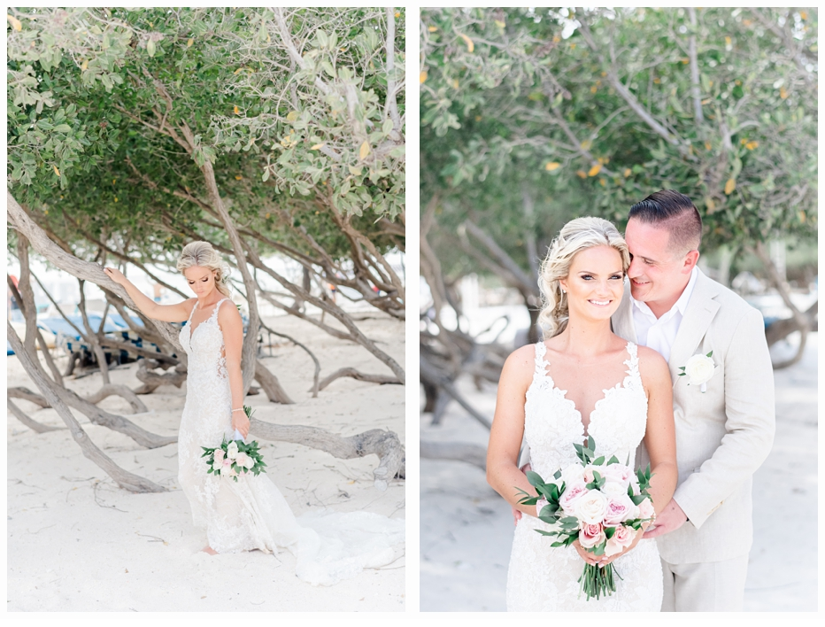 bride and groom portraits at the beach