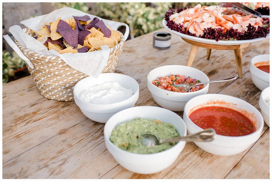 appetizers at beach wedding