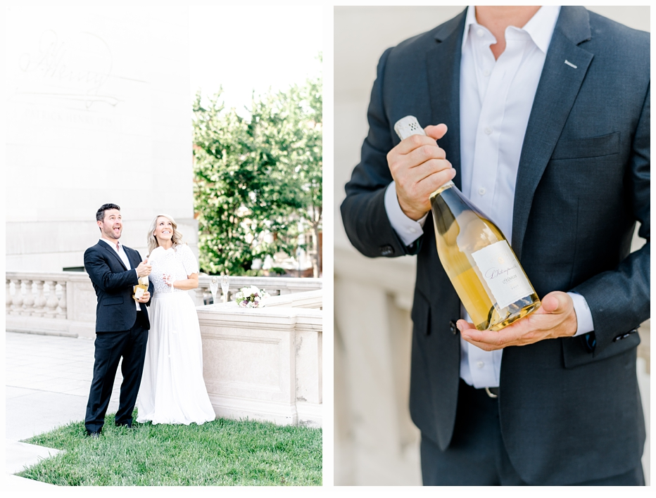 engaged man holding a bottle of champagne