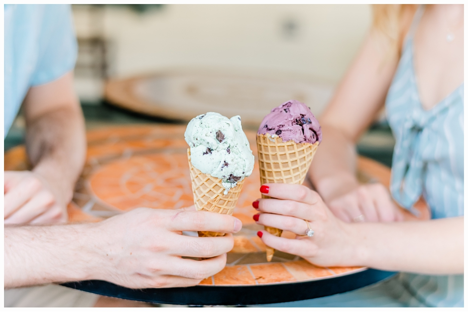 engaged couple eating ice cream cones