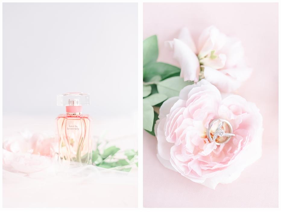 wedding rings in pink garden rose