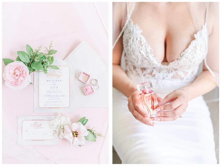 bride in wedding gown holding perfume bottle
