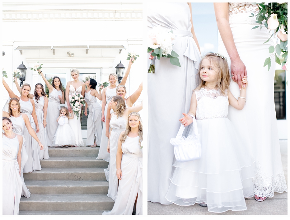 bridal party cheering with bride on steps