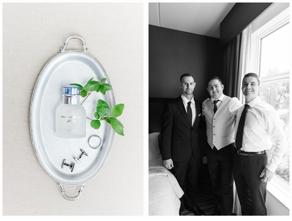 grooms cologne on silver tray and groomsmen in hotel room