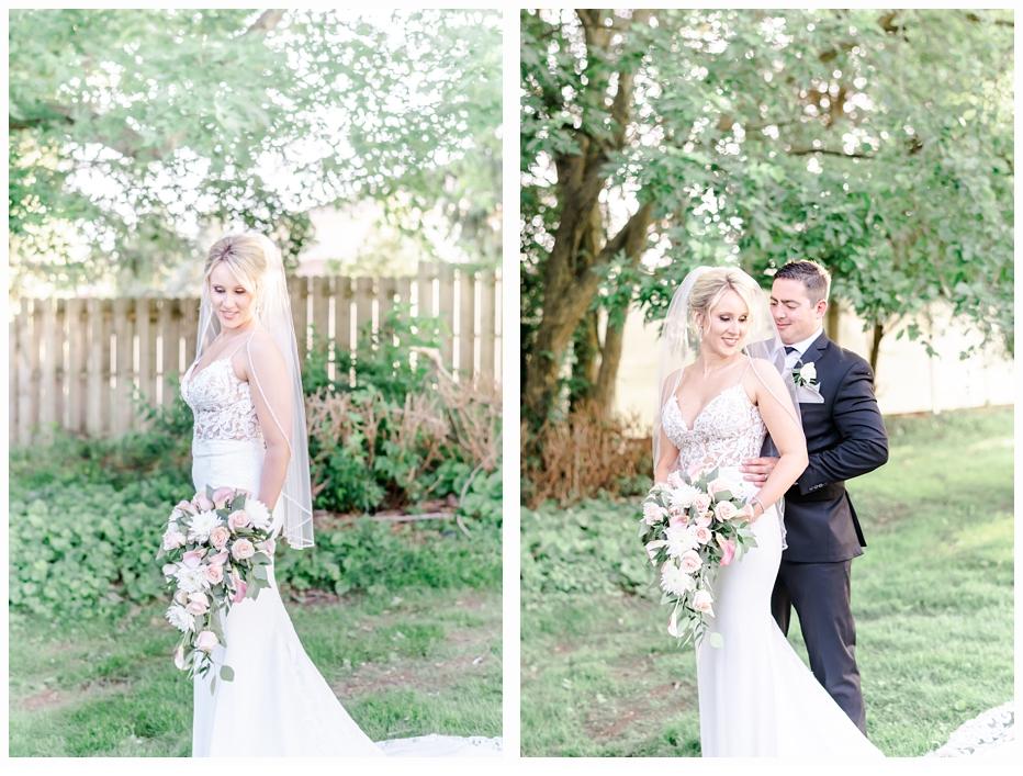 bride and groom portraits in the garden