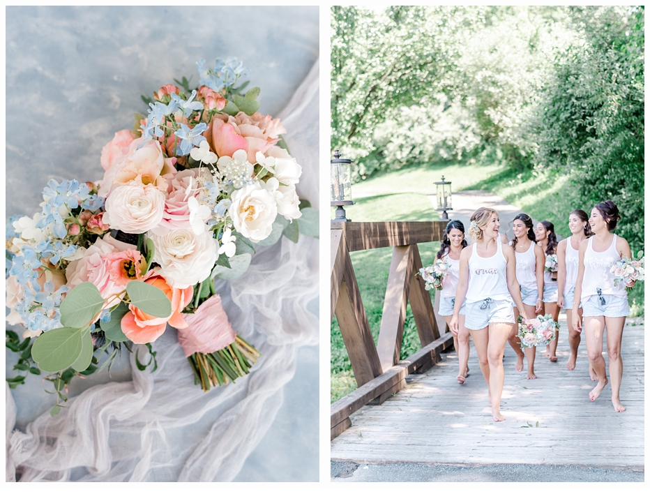 bride and bridesmaids walking on a bridge in shorts