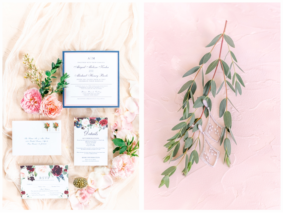 pretty pink and blue wedding invitation
