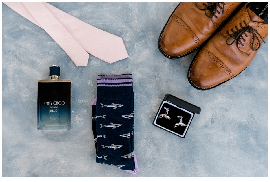grooms shoes socks tie and cologne