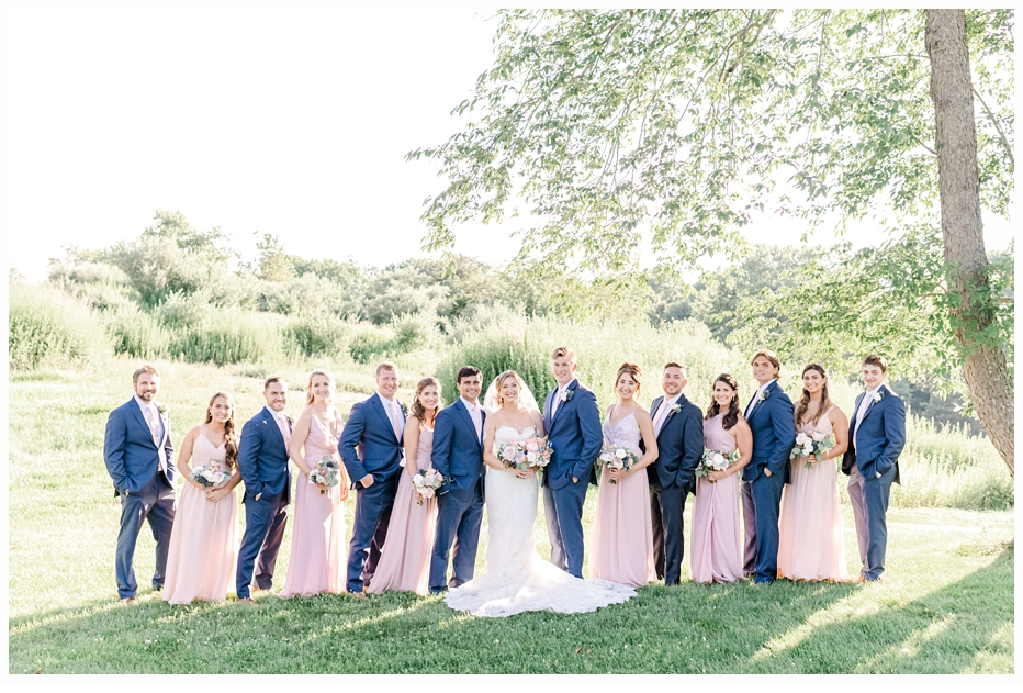 bridal party wearing pink and blue colors