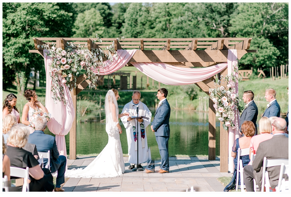 bride and groom getting married at bear brook valley