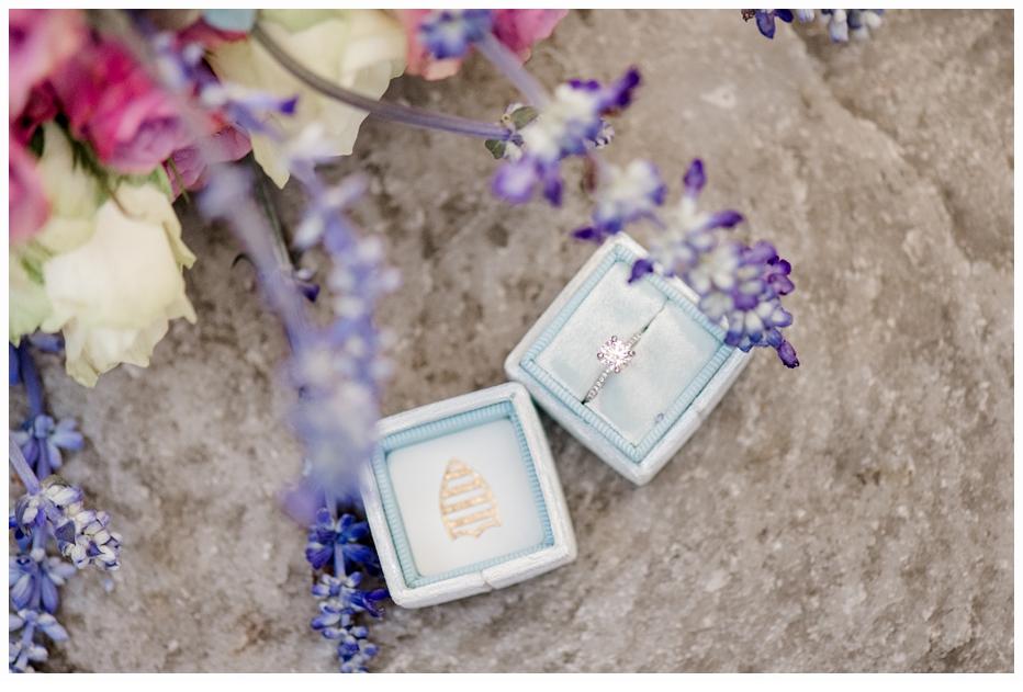 engagement ring in pretty blue velvet ring box