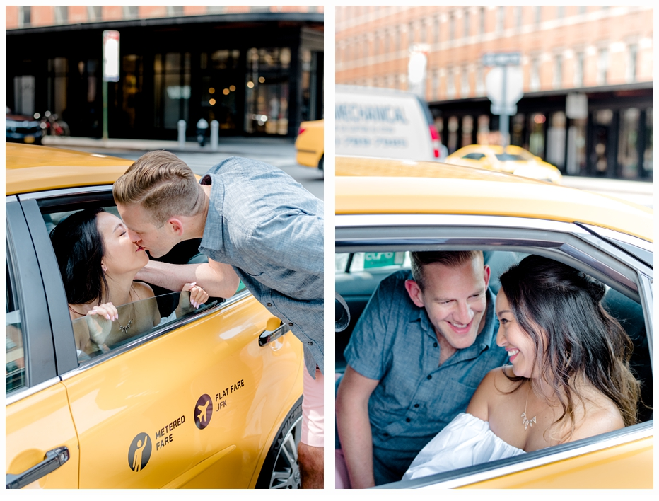 engagement couple in yellow taxi cab kissing