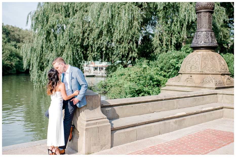 engaged couple in central park