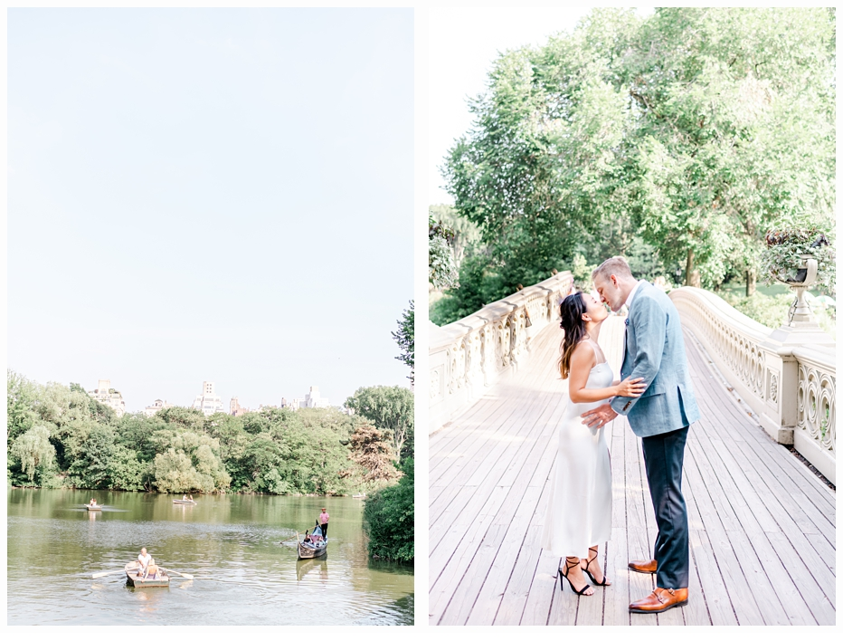 engaged couple on bow bridge in central park