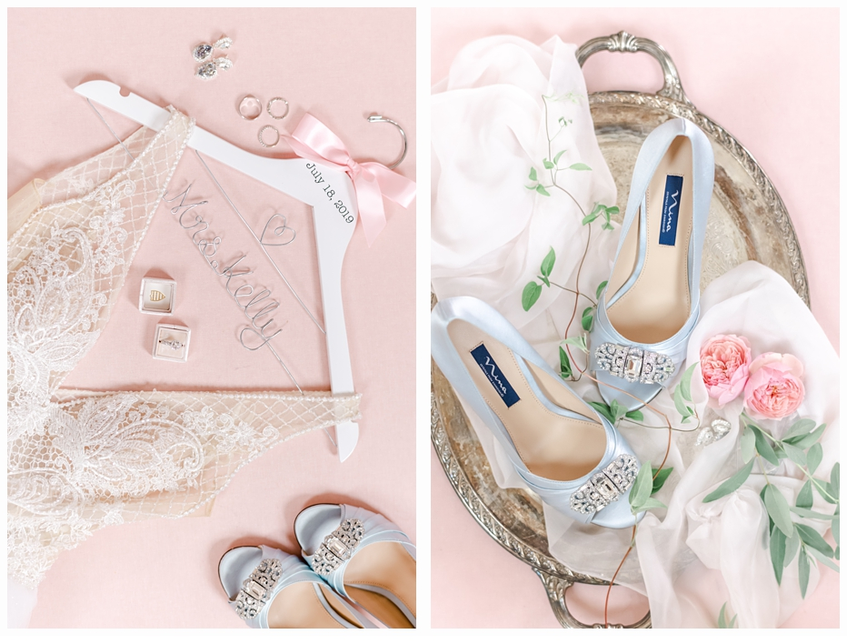 bridal blue shoes on a pretty gold tray