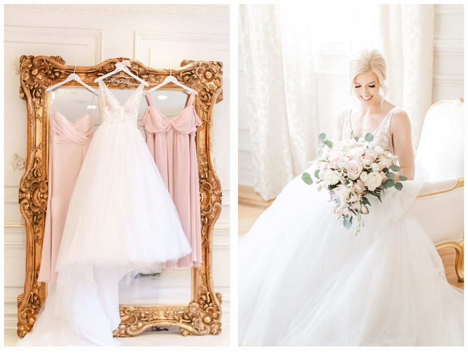bridal gown hanging on a pretty gold mirror