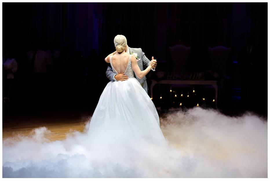 bride and groom dancing in a ballroom